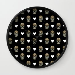 Say It with Skull and Hearts Wall Clock