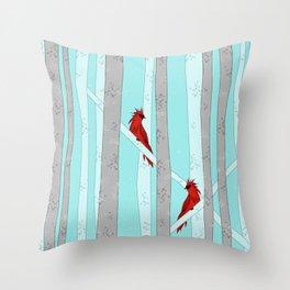 Holiday Forest Cardinals Design Throw Pillow