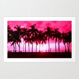 Pink Summer Palm Trees Art Print