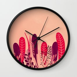 Pink plant Wall Clock