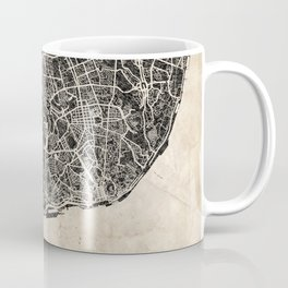 lisbon map ink lines Coffee Mug