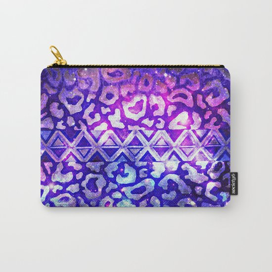 TRIBAL LEOPARD GALAXY Animal Print Aztec Native Pattern Geometric Purple Blue Ombre Space Galactic Carry-All Pouch