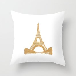 Golden Eiffel Tower Throw Pillow