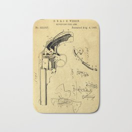 Revolving Fire Arm Support Patent Drawing From 1885 Bath Mat