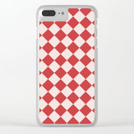 Red and White Checkered Diamond Pattern Clear iPhone Case