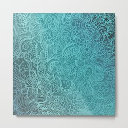 Detailed zentangle square, blue colorway Metal Print