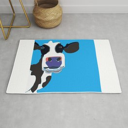 Black and white Cow in the Blue Sky Rug