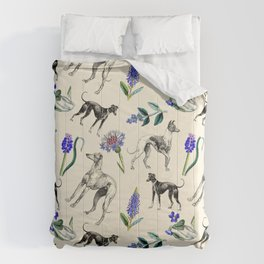 GREYHOUND DOGS & PRESSED FLOWERS Comforters