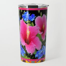 GREY PINK TROPICAL HIBISCUS BLUE-YELLOW FLOWERS Travel Mug