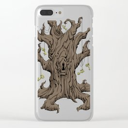 Gnarled tree with ske Clear iPhone Case