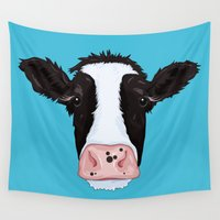 cow Wall Tapestries featuring Cow by Compassion Collective