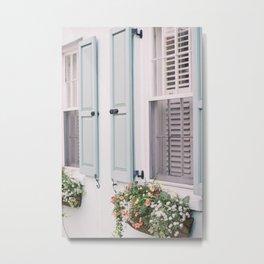 Charleston Window Box on Rainbow Row Metal Print