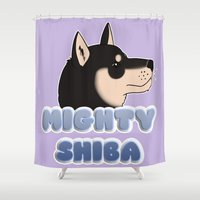 shiba Shower Curtains featuring Mighty Shiba by Cheesey