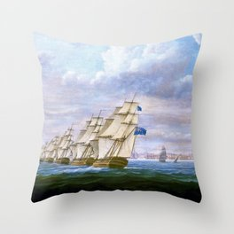 Nelson's Inshore Blockading Squadron At Cadiz - Thomas Buttersworth Throw Pillow