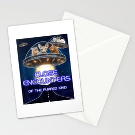 Funny Cat Movie Parody Close Encounters Purred Kind UFO T-Shirt Stationery Cards