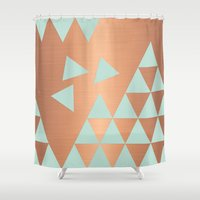 copper Shower Curtains featuring Copper & Mint by cafelab