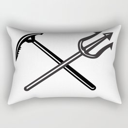 Crossed Mountain Ice Axe and Trident Icon Rectangular Pillow