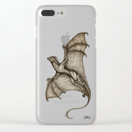 """Hurricane Wyvern"" by Amber Marine, Ink & Graphite Dragon Art, (Copyright 2016) Clear iPhone Case"