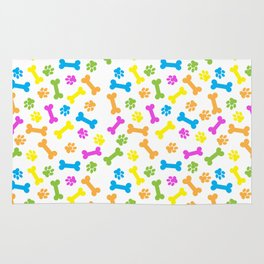 Colourful dog's bones and paws Rug