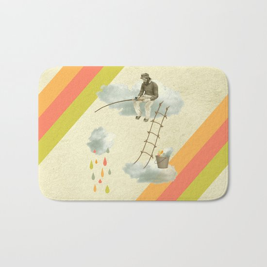 The fisherman who was cleaning the sky from the clouds Bath Mat