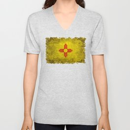 Flag of New Mexico - vintage retro style Unisex V-Neck