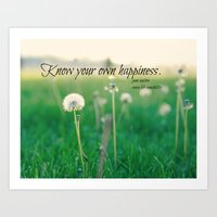 jane austen Art Prints featuring Happiness Jane Austen by KimberosePhotography