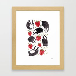 Badgers and Strawberries Framed Art Print