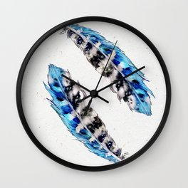 Two  blue feathers Wall Clock