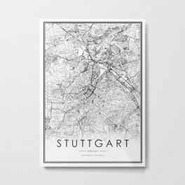 Stuttgart City Map Germany White and Black Metal Print