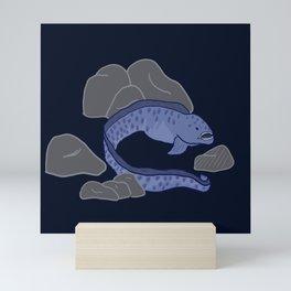 Wolf Eel (dark blue) Mini Art Print