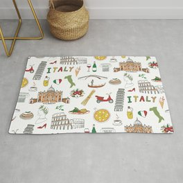Italy travel doodle pattern with national italian food and sights.  Rug