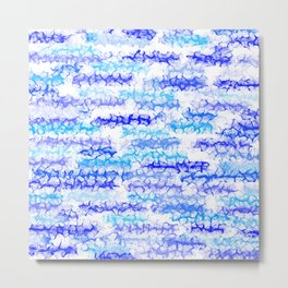 Cobalt Blue & Aqua Lines - White Metal Print
