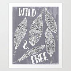 Wild & Free Feathers. White & Grey Edition 2 Art Print