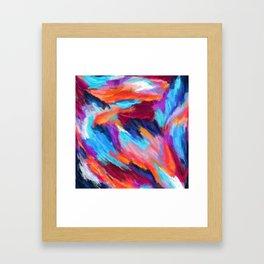 Bright Abstract Brushstrokes Framed Art Print