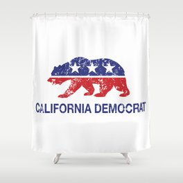 California Political Democrat Bear Distressed Shower Curtain