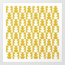 Art Deco Jagged Edge Pattern Mustard Yellow Art Print