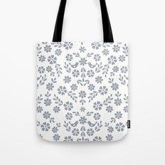 Silver gray symmetric floral bird heart Tote Bag