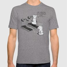 Walking in a straight line LARGE Mens Fitted Tee Tri-Grey