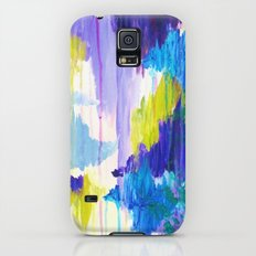WINTER DREAMING - Jewel Tone Colorful Eggplant Plum Periwinkle Purple Chevron Ikat Abstract Painting Slim Case Galaxy S5