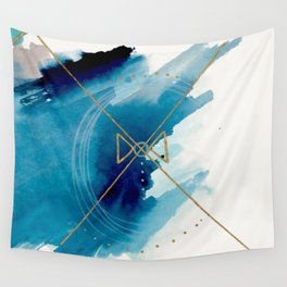 Galaxy Series 3 - a blue and gold abstract mixed media set Wall Tapestry