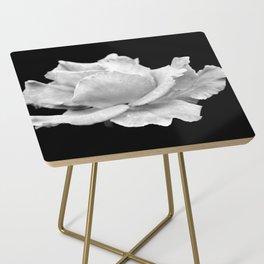 White Rose On Black Side Table