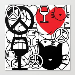 Peace, Love, Wine and Cats Canvas Print