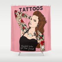 kim sy ok Shower Curtains featuring Kim by marie llaneza