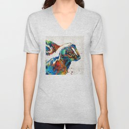 Colorful Skunk Art - Dee Stinktive - By Sharon Cummings Unisex V-Neck