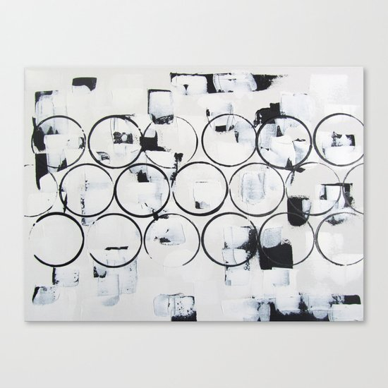 """No. 29 - Print of Original Acrylic Painting on canvas - 16"""" x 20"""" - (White and black) Canvas Print"""