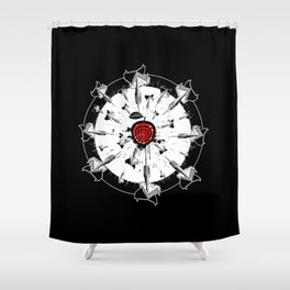 Abstract installation on the theme of darts. Shower Curtain