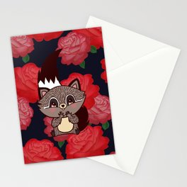Racoon & roses Stationery Cards
