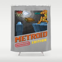 metroid Shower Curtains featuring Metroid Remastered Edition by Julian Rhys
