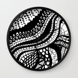 Free Hand Wavy Pattern Black and White Drawing Wall Clock
