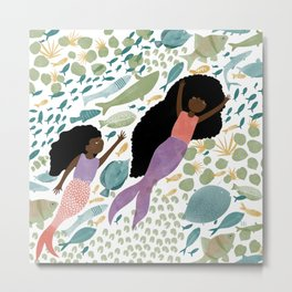 Mermaids and Fish in the Ocean Metal Print